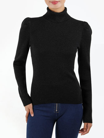Ribbed Knit Puff Shoulder Lurex Turtleneck