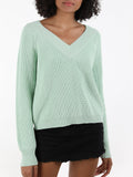 Wide V-Neck Cotton Shaker Cropped Sweater
