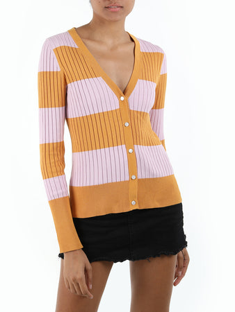 Fitted Rib Knit Cardigan