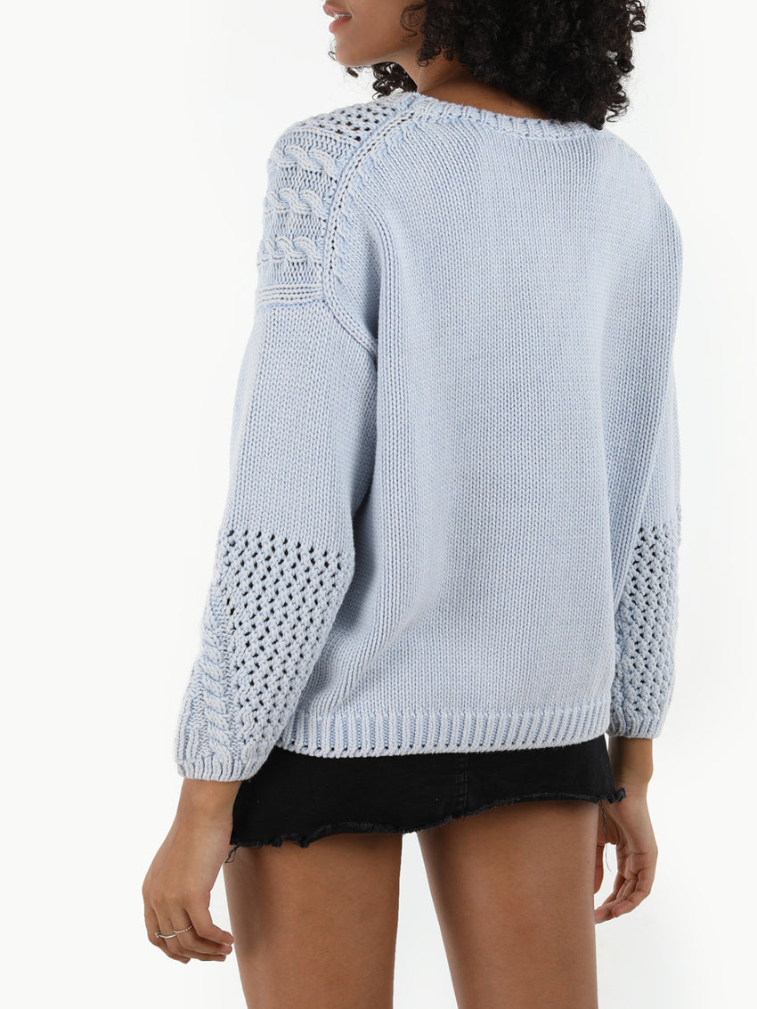 Denim Wash Cable Knit Cotton Sweater