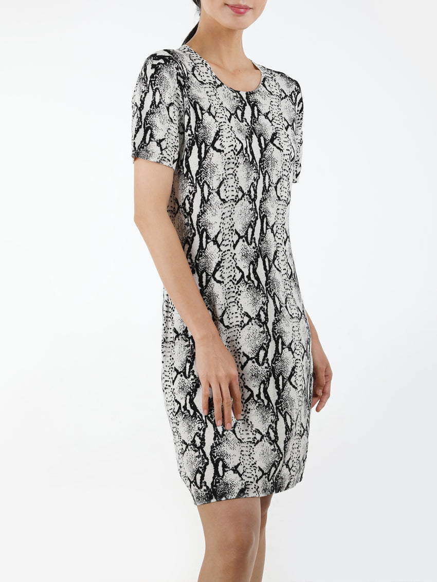 Python Short Sleeve Knit Dress