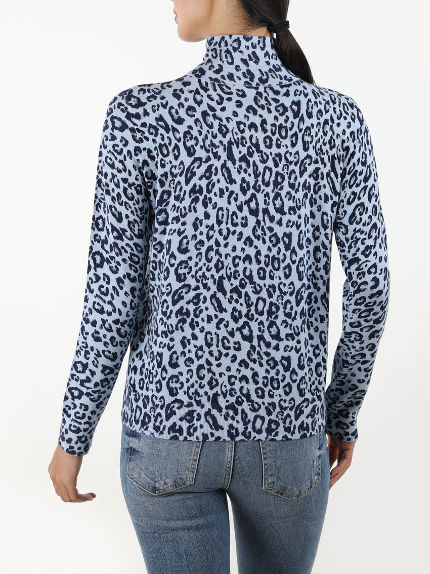 Leopard Print Mock Neck Knit Top