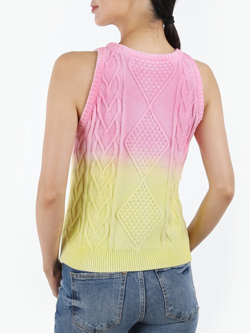 Ombre Cable Knit Cotton Sweater Tank