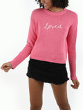 Slogan Cotton Shaker Crewneck Sweater