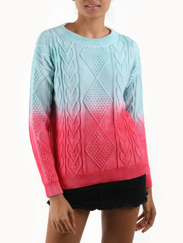 Ombre Cable Knit Cotton Sweater