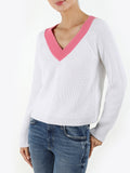 Cotton Shaker Contrast V-Neck Cropped Sweater