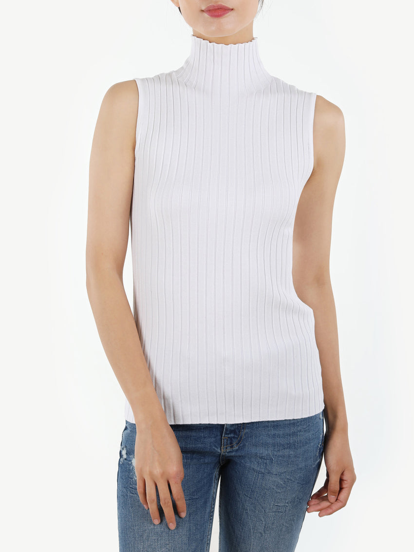 The Zoe: Ribbed Knit Mock Neck Sleeveless Top