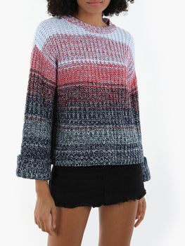Gradient Color Cuffed Sleeve Sweater