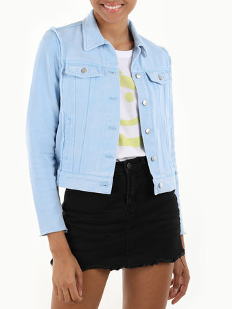 Cotton Denim & Knit Jean Jacket