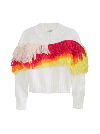 Fringe Over The Rainbow Crewneck Long Sleeve Sweater