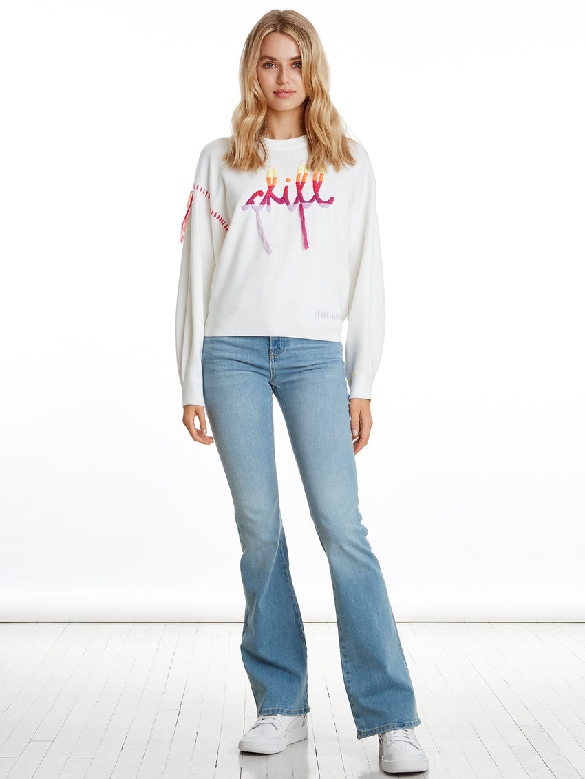 Chill Days Fringe Intarsia Long Sleeve Sweater