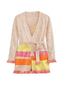 High Neck Fringed Sleeve Cardigan