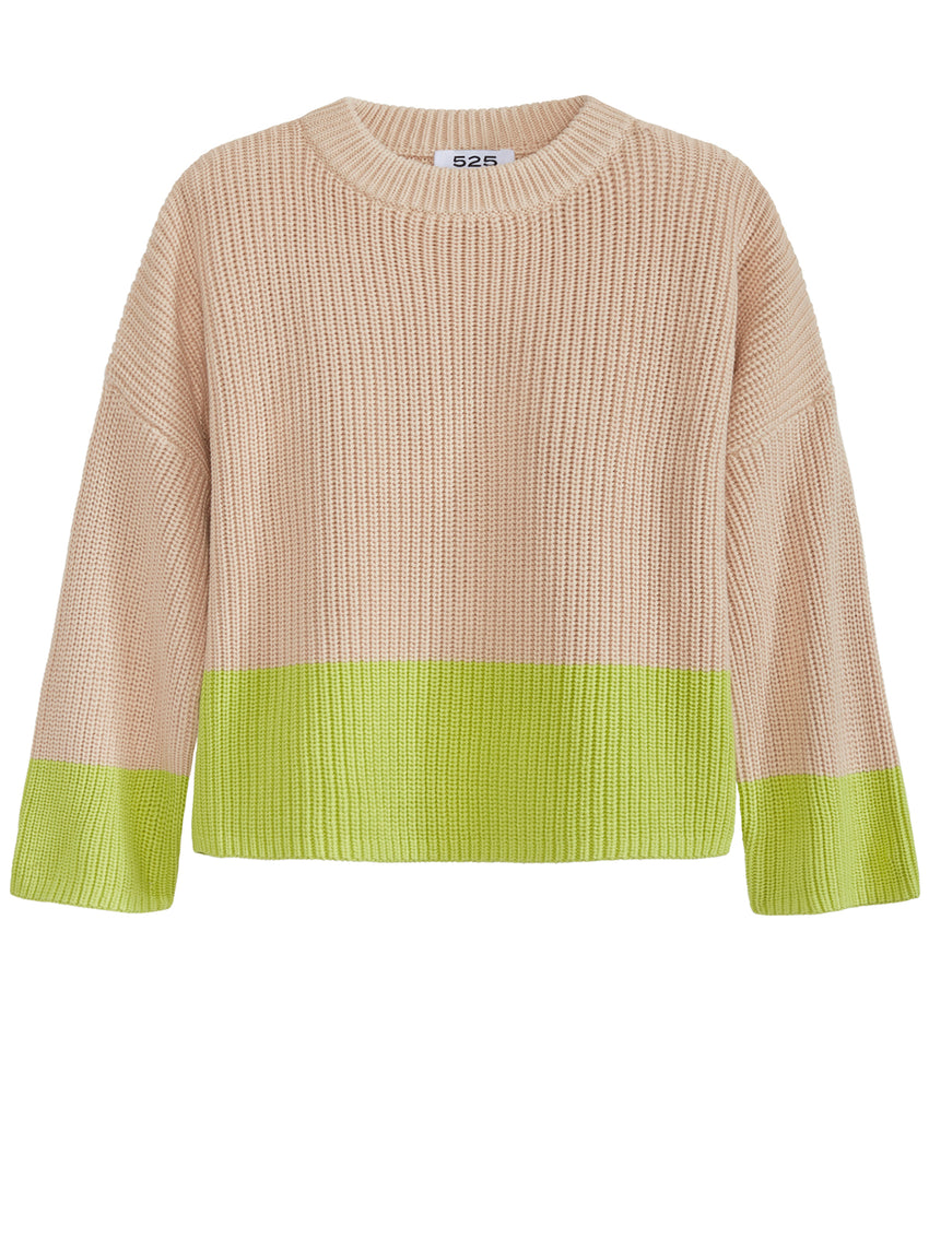 Two-Toned Crewneck Shaker Sweater
