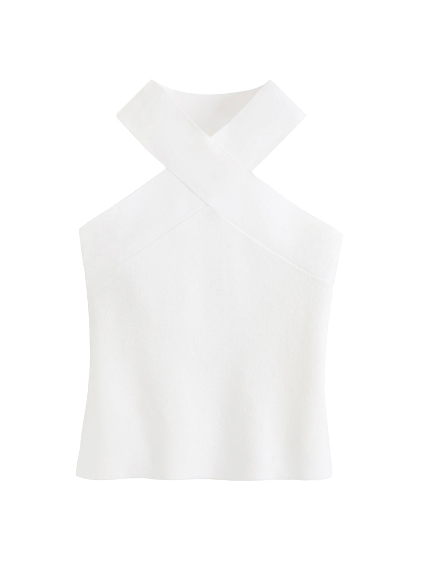 High Haltered Ribbed Sleeveless Top