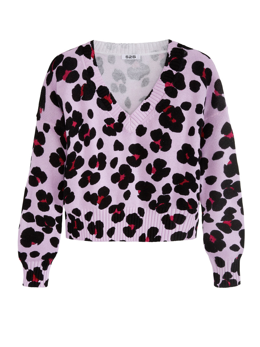 Leopard Print Cropped V-Neck Long Sleeve Sweater