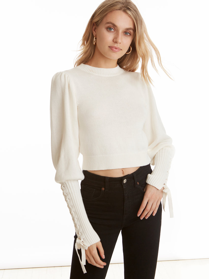 Cropped Tie Long Sleeve Sweater
