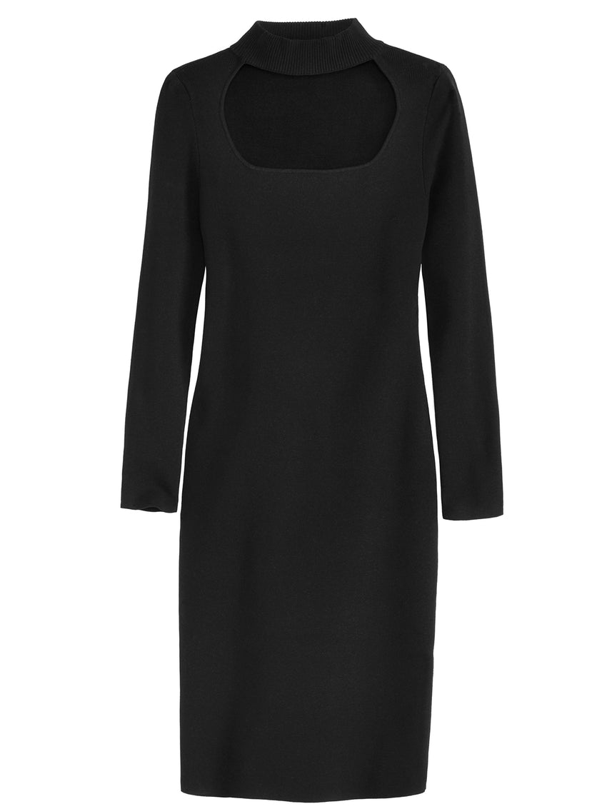 Open Mock Neck Long Sleeve Dress