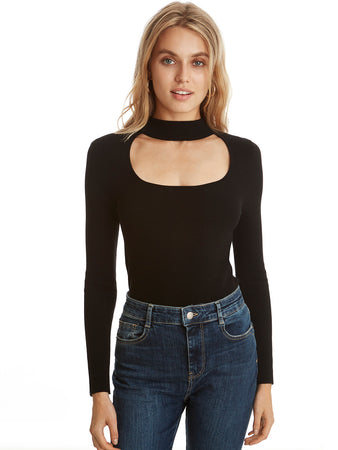 Cut Out Mock Neck Long Sleeve Top
