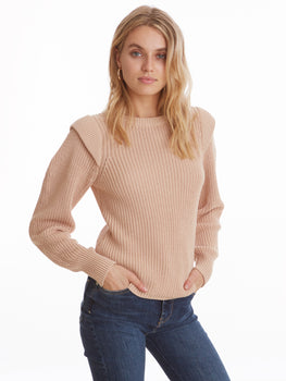 Shoulder Detail Crewneck Long Sleeve Sweater
