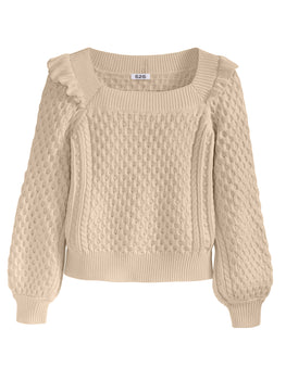 Ruffle Cable Knit Scoop Neck Sweater