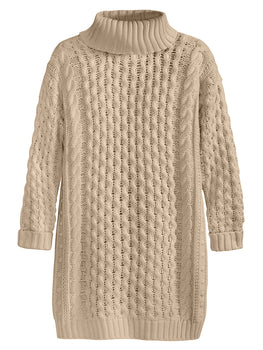 Soft Cable Knit Turtleneck Long Sleeve Dress