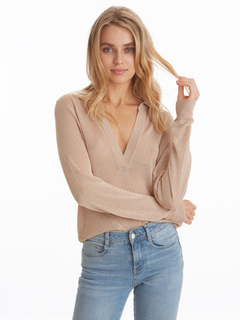 Lurex Polo Neck Long Sleeve Top