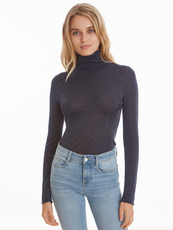 Lurex Roll Turleneck Long Sleeve Top