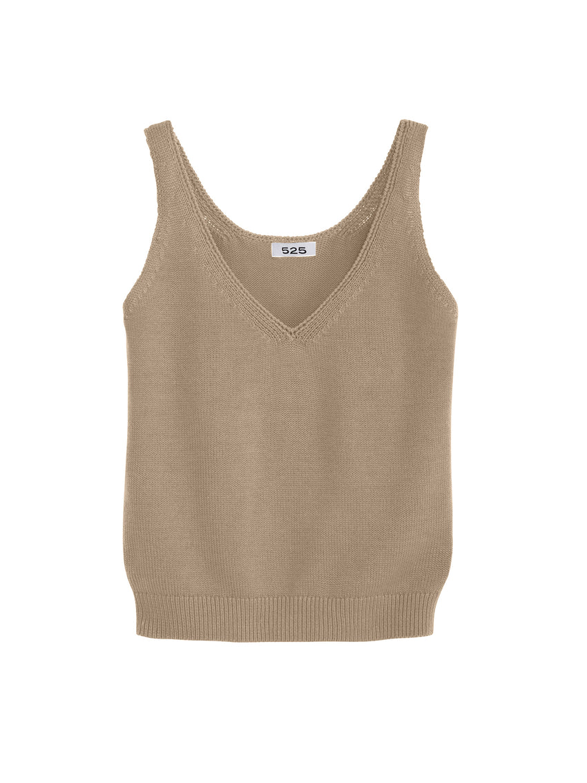 V-Neck Cotton Jersey Knit Tank