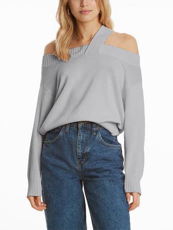 Off-Shoulder Strap Pullover