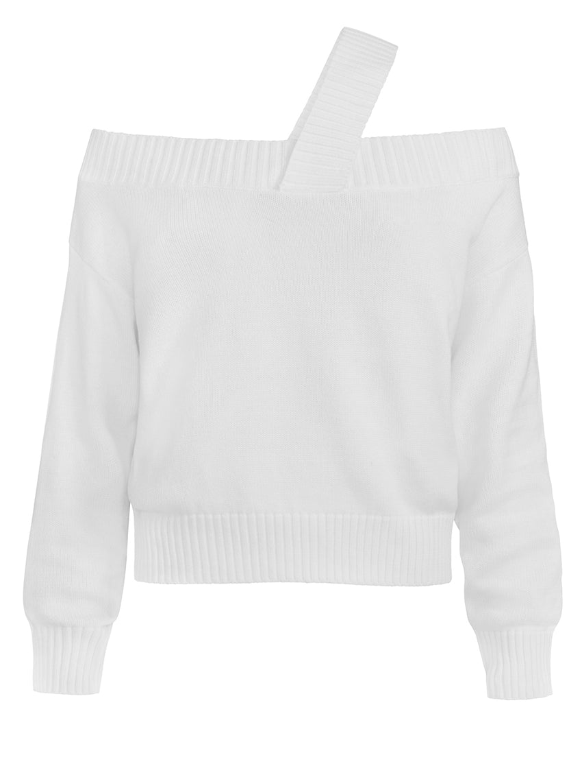 Off The Shoulder Strap Long Sleeve Sweater