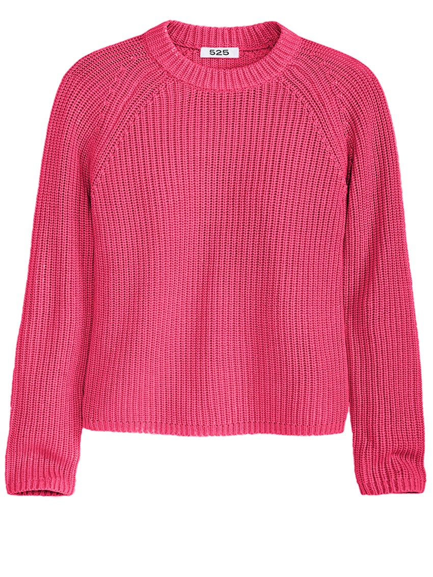 The Jane: Cotton Shaker Stitch Raglan Sleeve Sweater
