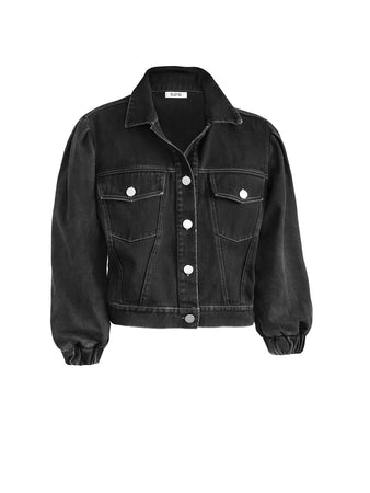 Puff Sleeve French Terry Denim Jacket