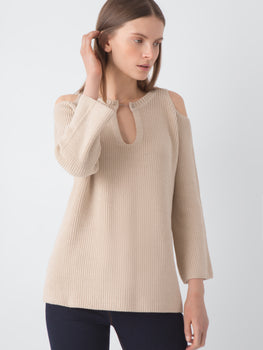 Barbell Cold Shoulder Cotton Tunic