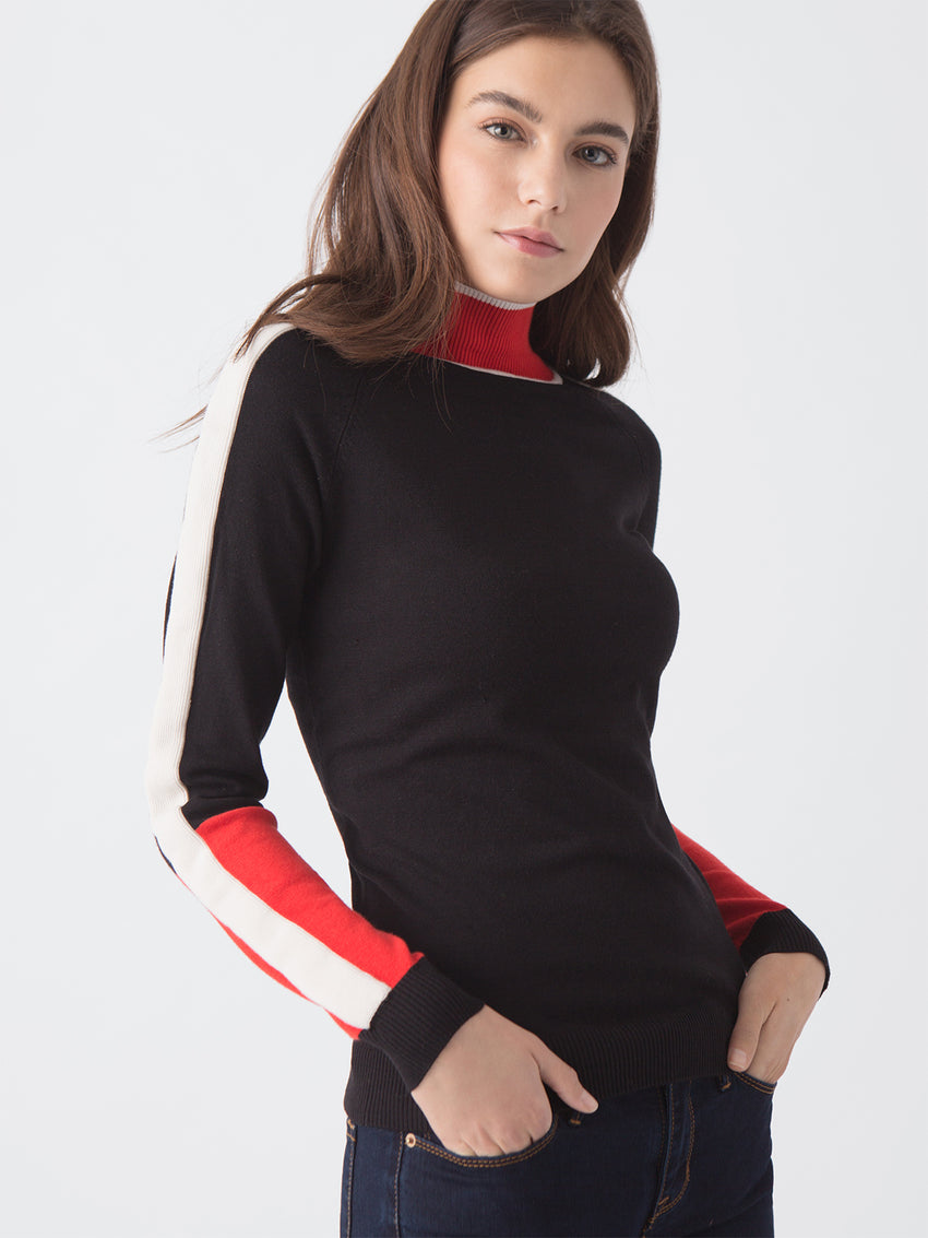 Colorblock Mock Neck Sweater Side View