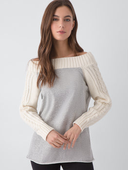 Off-The-Shoulder Two-Tone Tunic