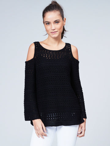Cotton Pointelle Sweater Cut Out Shoulder