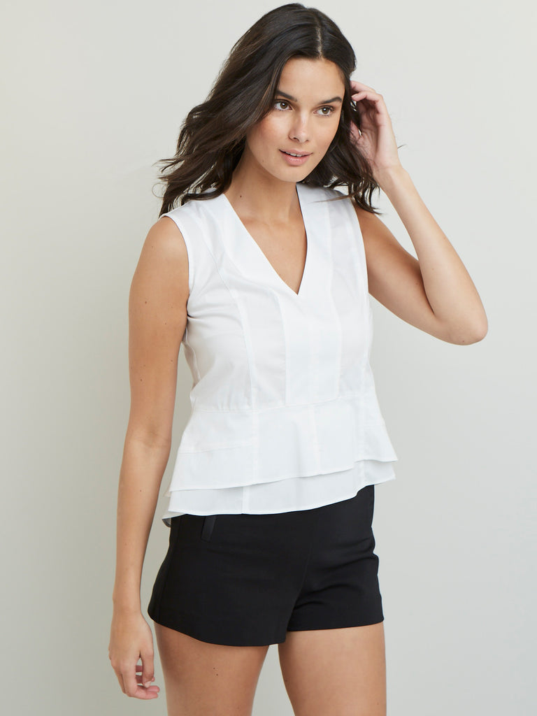 Cotton Poplin Sleeveless Back Zip Double Ruffle