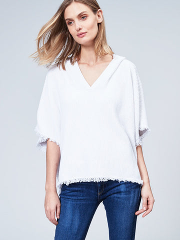 Cotton Shaker Hood Poncho with Fringe