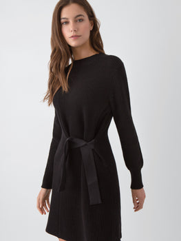 Cotton Shaker Side Belt Sweater Dress