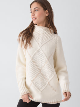 Cotton Wool Argyle Rolled Neck Sweater