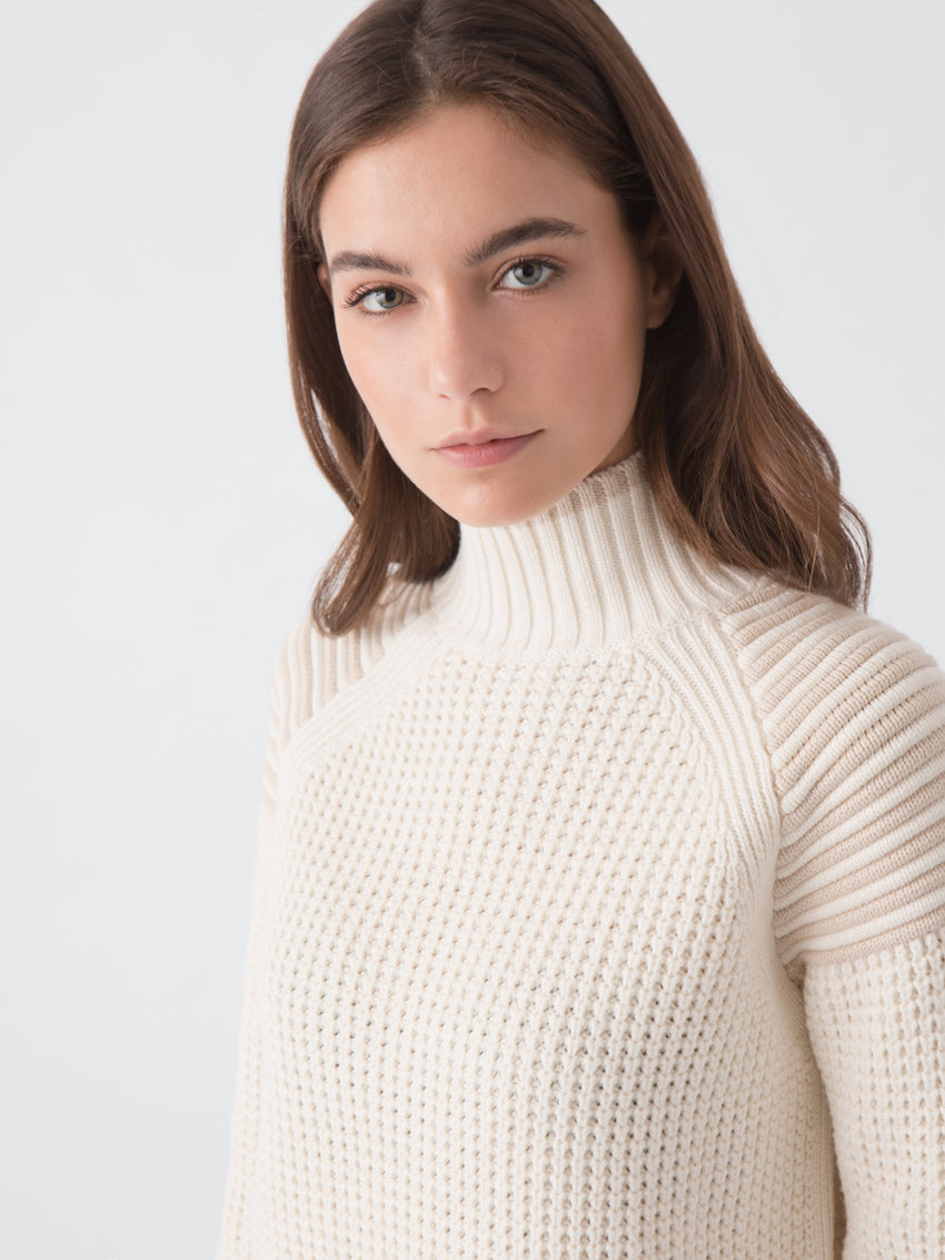 Cotton-Wool Mock Neck Shaker Stitch Sweater