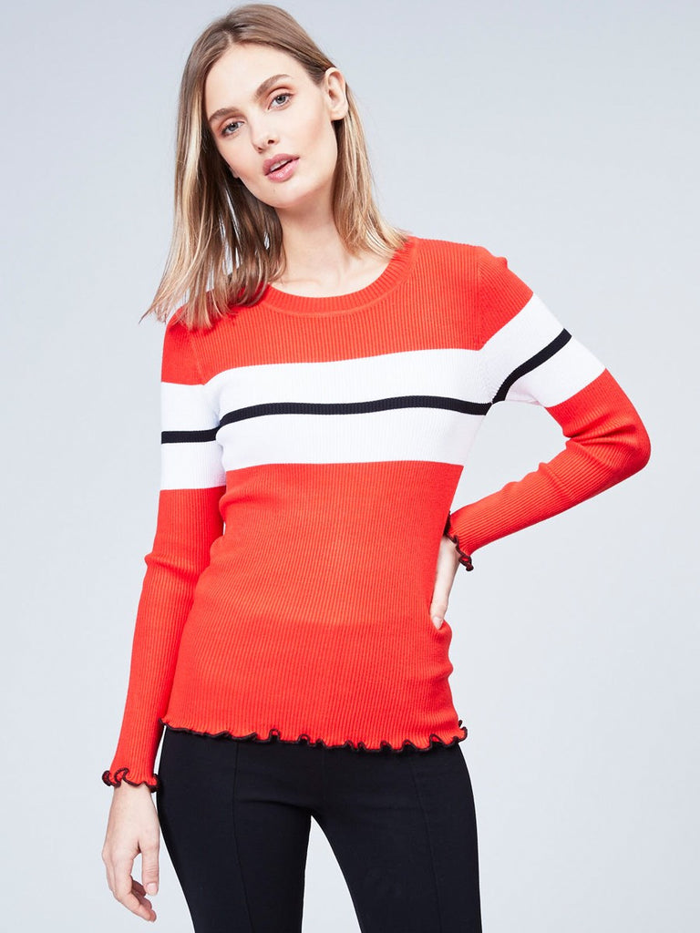 Crew Neck Sweater with Ruffle Edges
