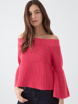 Crop Off The Shoulder Shaker with Tulip Sleeves