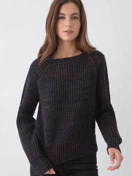 Cropped Dual Zip Cotton Sweater