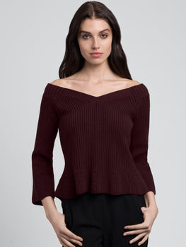 Cropped V-Neck Peplum