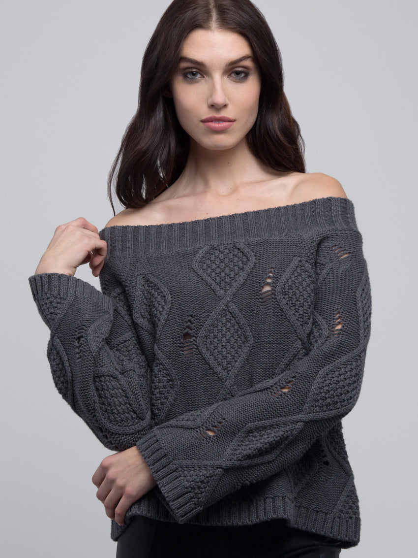 Deconstructed Cotton-Wool Off-The-Shoulder Sweater