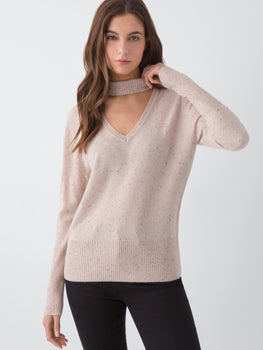 Donegal Cashmere Choker V-neck Sweater