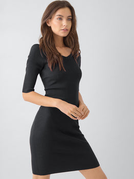 Double V Portrait Wide Neck Dress