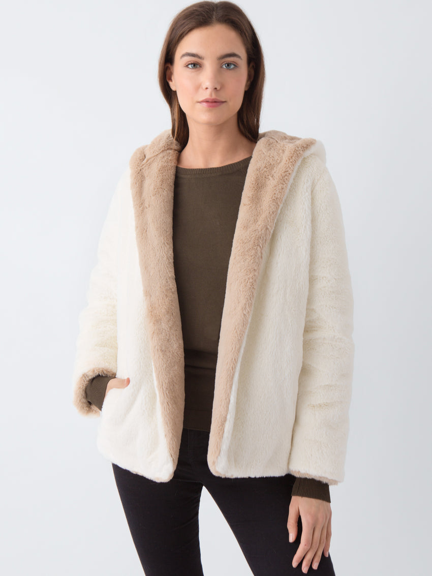 Faux Fur Hooded Reversible Jacket