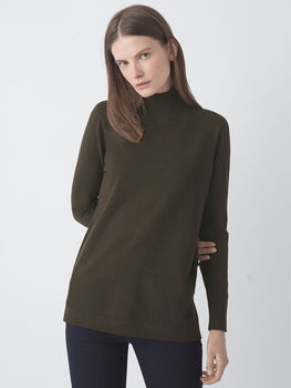 Mock Turtleneck V-Back Tunic
